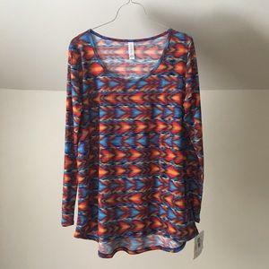 nwt lularoe Lynnae Orange Blue Aztec Long Slv Top